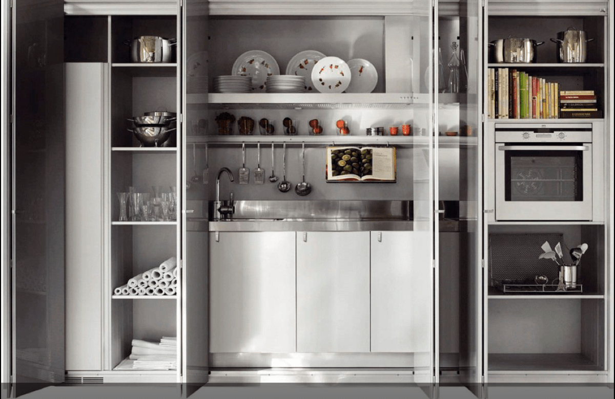 Cocinas ocultas en un armario, perfectas para hogares pequeños