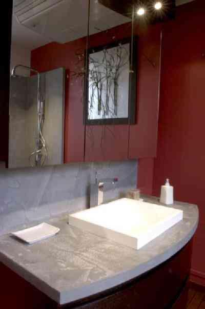 Encimera de concreto para el baño