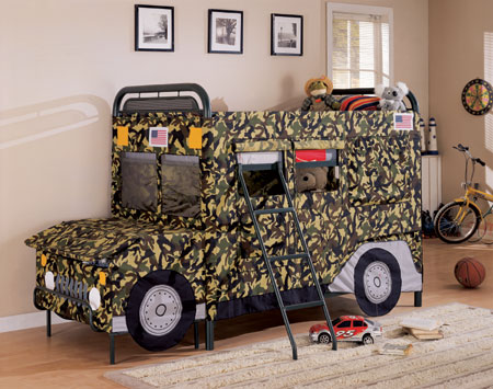 cama jeep de camuflaje one way furniture