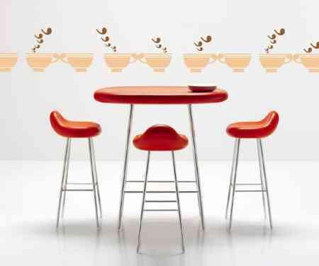 Conjunto de mesa y taburetes para una cocina juvenil - Mesa alta con taburetes ...