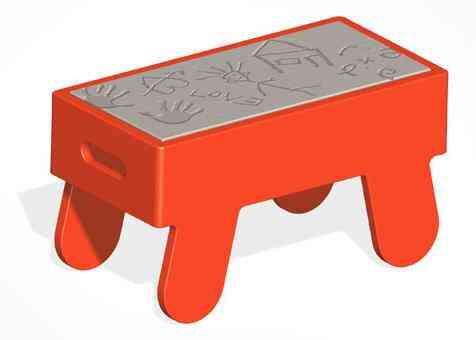 mesa personalizada con huellas sobre cermento reddish studio