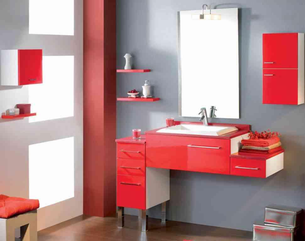 Decorando el hogar cuartos de ba o coloridos for Muebles de bano rojos