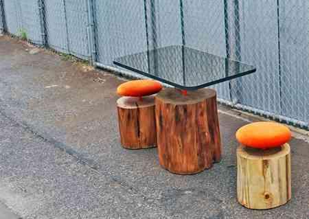 Logs muebles urbanos hechos con troncos decoraci n de for Muebles con troncos