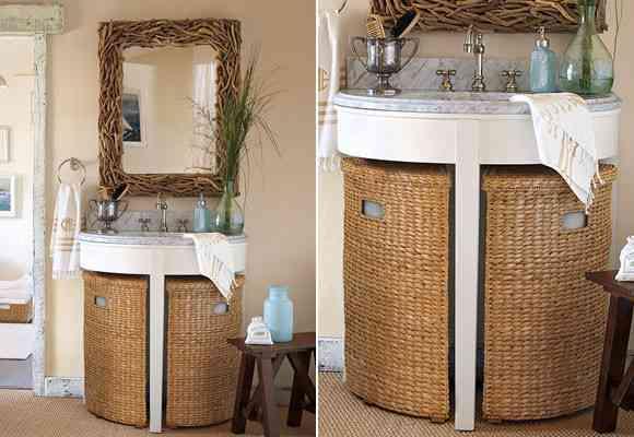 C mo aprovechar el mueble del lavabo decoraci n de - Cestos para el bano ...