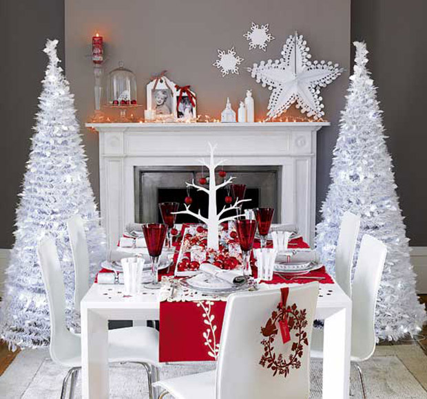 Decoración navideña monocromática - Decoración de Interiores   Opendeco