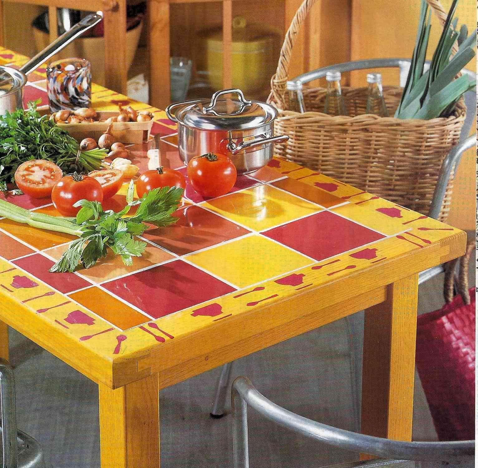 mesa reciclada con azulejos decoraci n de interiores