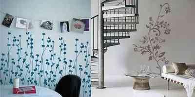 Pintar con plantillas motivos en las paredes decoraci n - Plantillas para paredes ...