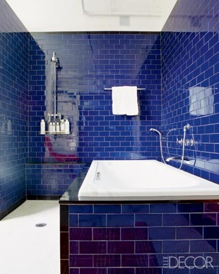 Decoracion Baños Azul Turquesa:Blue Subway Tile Bathroom