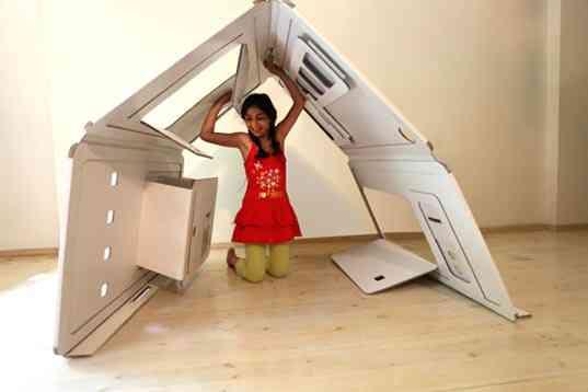 Una casa de juegos de papel: ahorra espacio en la habitación de los niños 1