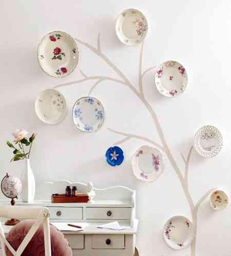Decoraci n de paredes platos y vinilos decoraci n de - Como decorar platos ...