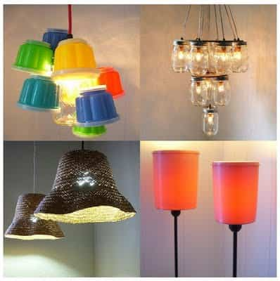 Una bonita lámpara con materiales reciclados 1
