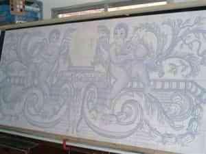 Azulejo pintado a mano con técnica pizano 4