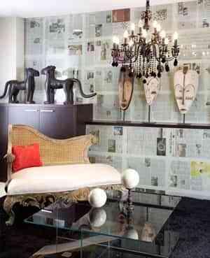 Salas, comedores y salones empapelados con periódicos 2