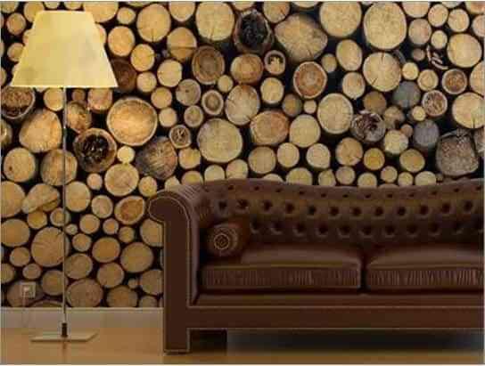 Papel pintado para una pared de madera for Papel pared madera