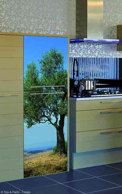 Vinilo rbol plage para puerta de armario de cocina for Vinilos para armarios cocina
