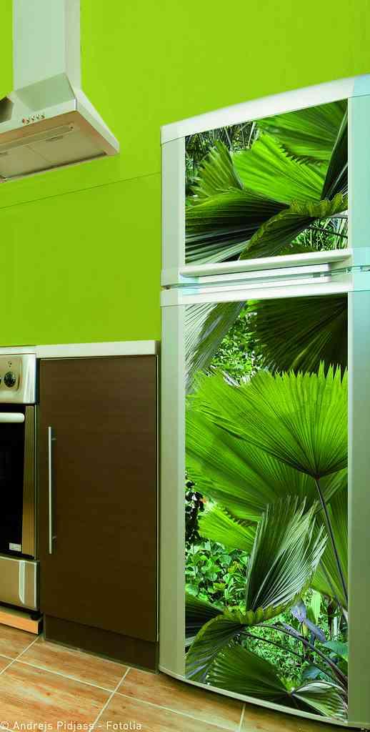 Vinilo palmeras plage para frigor fico de dos puertas - Papeles vinilicos para cocinas ...