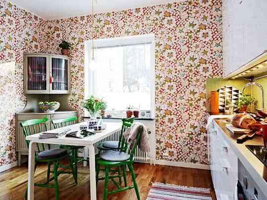 Papel pintado en la cocina, ¿una buena idea? 3