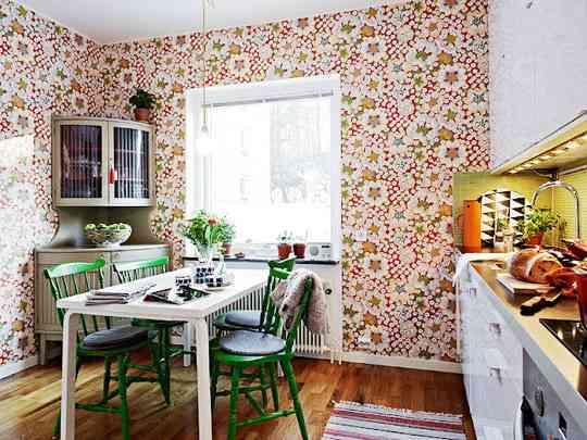Papel pintado en la cocina una buena idea blog - Papel pintado en cocinas ...