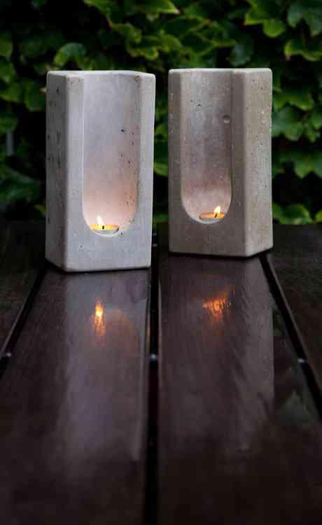 Lamparas Para Baños Minimalistas:Concrete Candle Holder Tealight