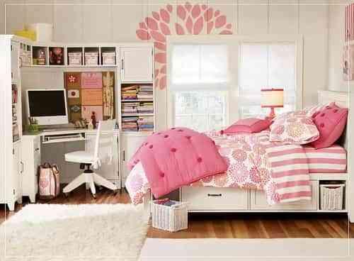decoracion de habitaciones en rosa y blanco