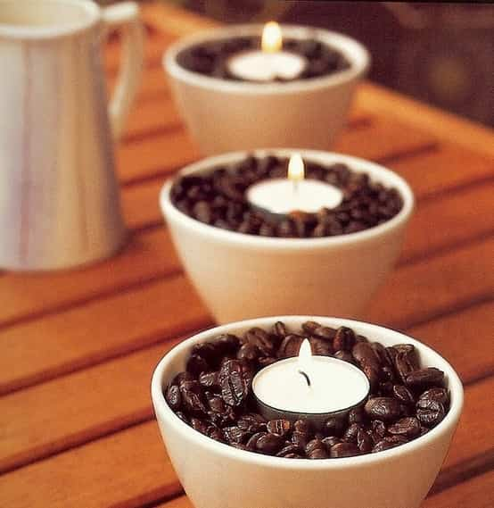 decorar con velas y cafe