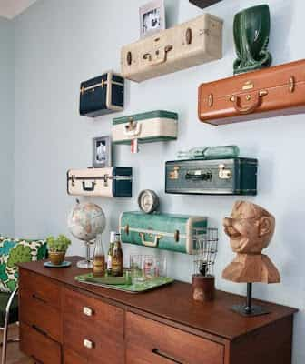decorar paredes con maletas