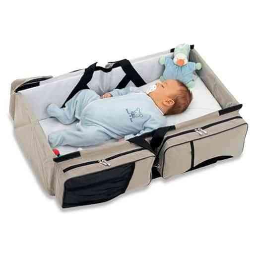 Un practico bolso que fácilmente puede convertirse en cuna para acostar a tu bebé