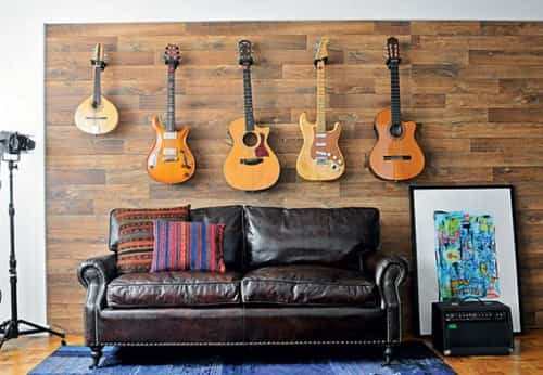 decorar pared con guitarras