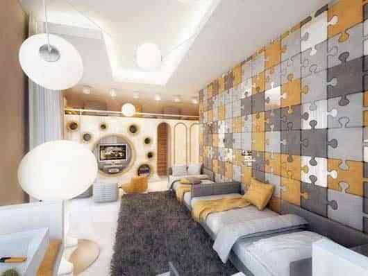 dormitorio decorado con puzzle