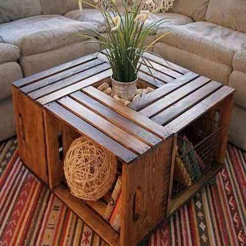 Mesa de living con cajones de madera decoraci n de for Diseno de muebles con cajones de verduras