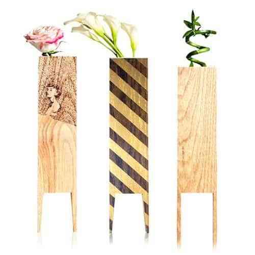 Originales jarrones de madera decoraci n de interiores - Jarrones decorativos para jardin ...