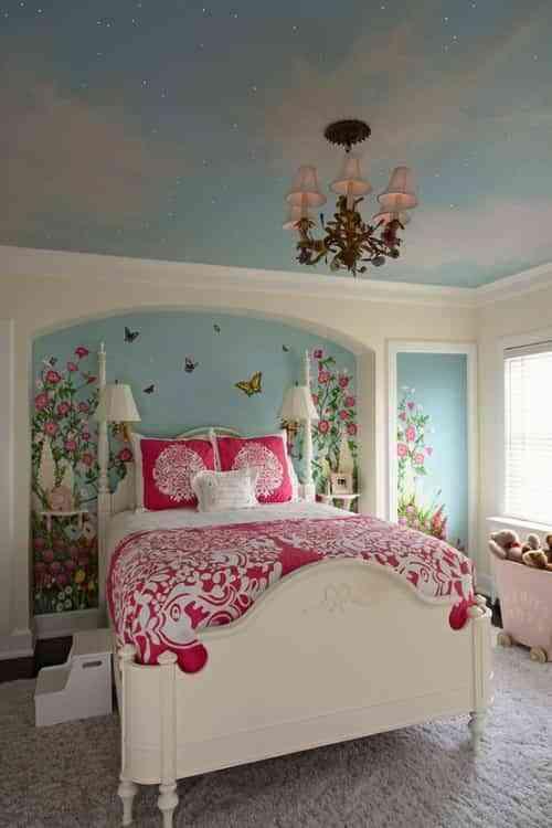 decorar dormitorio con nicho floral