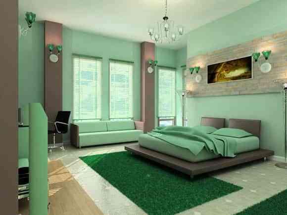 decoración dormitorio verde y gris