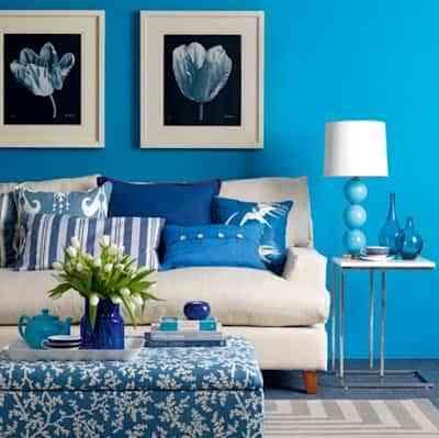 Decoración de un salón en celeste azul 1