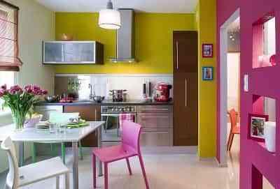 Decoración de una cocina en tonos flúor 1