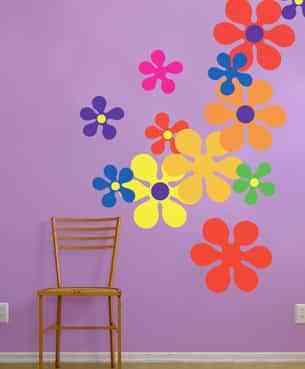 decorar las paredes con pegatinas sicodelicas