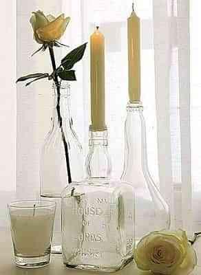 decorar con botellas y velas
