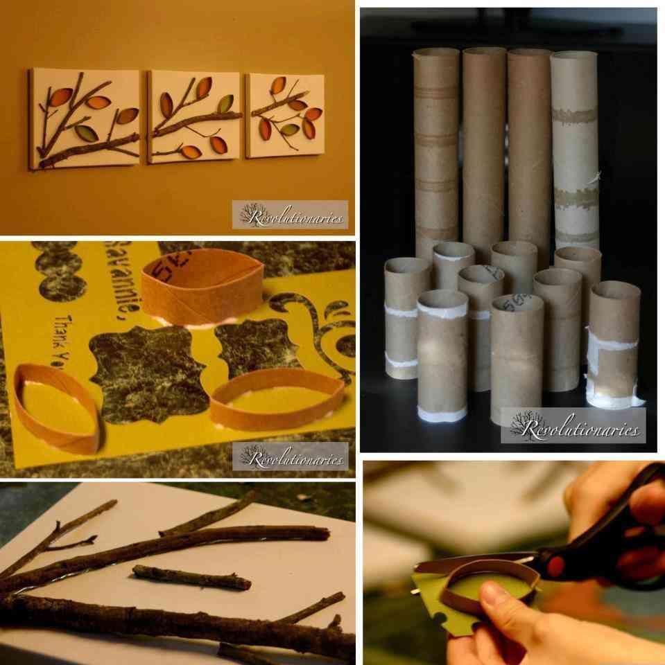 Paneles decorativos con motivos vegetales - Decoracion con rollos de papel higienico ...