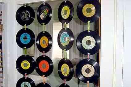 cortina con discos vinil