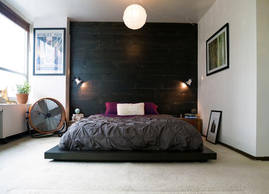 pared en negro para el dormitorio
