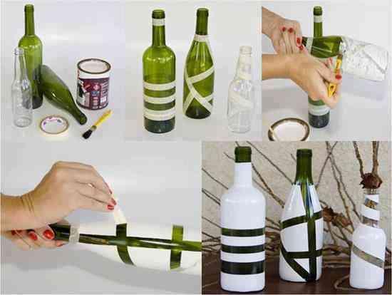 Decorar botellas con cintas