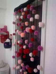Cortinas de lana pom pom para el dormitorio