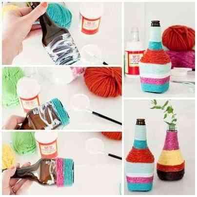 jarrones decorados con lana