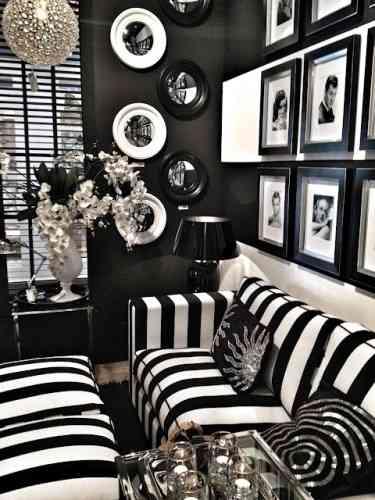 Decorar un sal n en negro y blanco decoraci n de - Decoracion salon blanco y negro ...