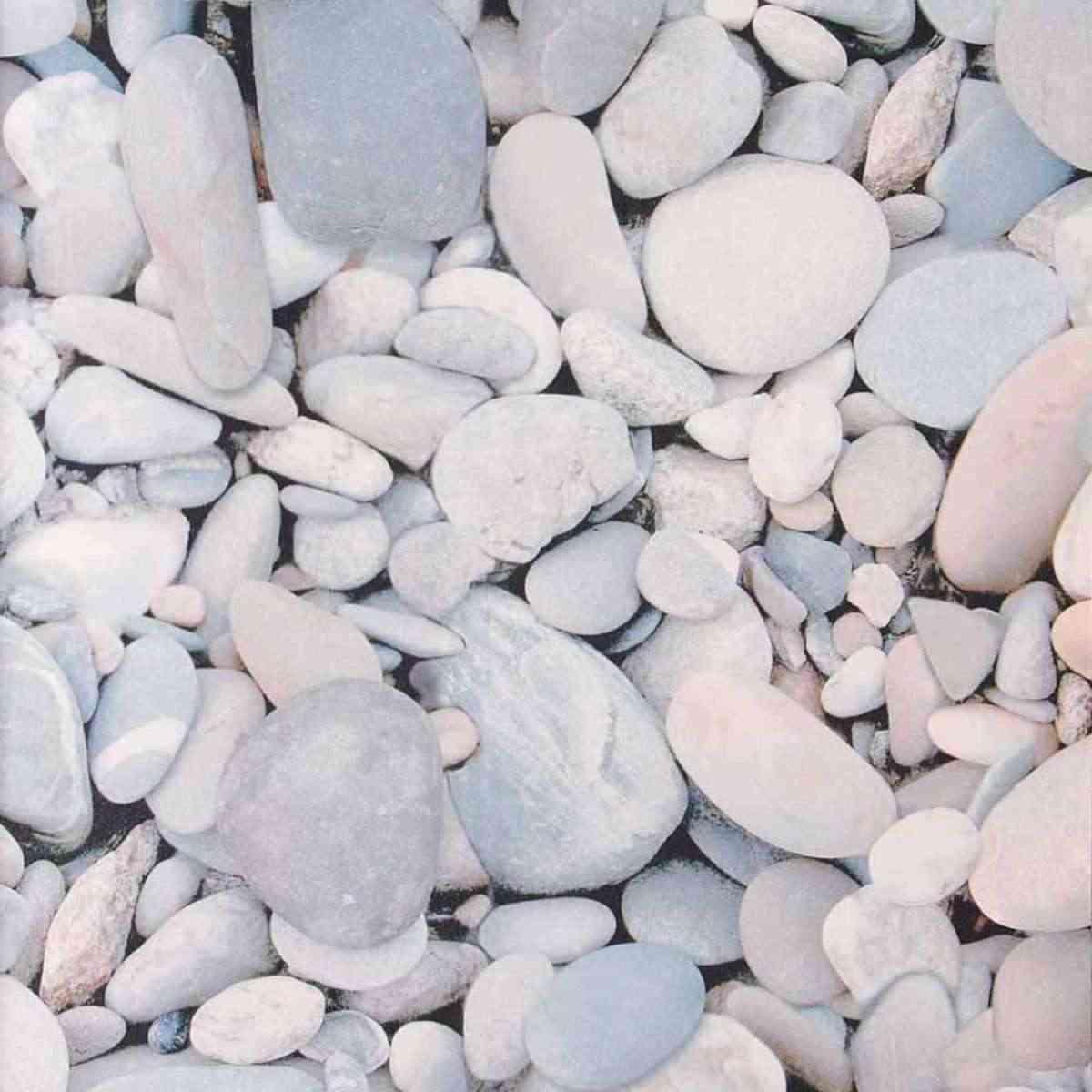 papel pintado para baños con piedras de río
