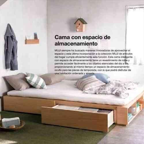 Cama con almacenamiento de Muebles Muji - Decoración de Interiores ...