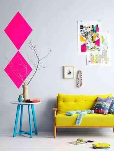 decorar pared con rombos