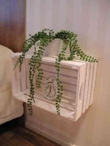 Una mesa de noche de una caja reciclada decoraci n de - Mesitas de noche recicladas ...