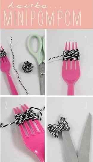 Un mini pompón con un tenedor