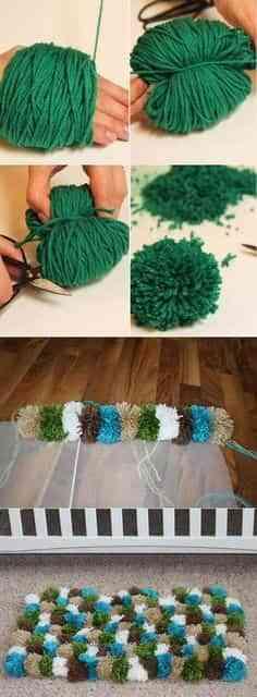 como hacer una alfombra de pompones de lana - copia